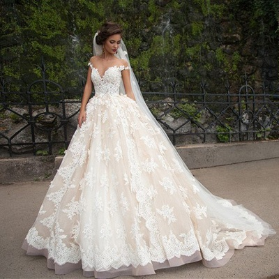 Elegant Lace Appliques Wedding Ball Gowns Off-the-shoulder Court Train Bridal Gowns_3