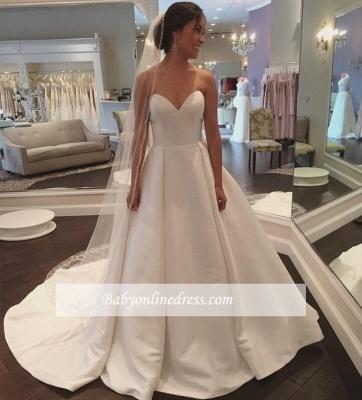 Sleeveless Sweep-Train White Sweetheart Simple A-line Wedding Dress_1