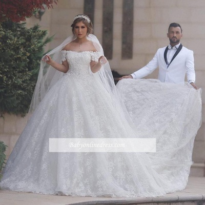 Lace-Up-Back Arabic Ball-Gown Sweetheart White Off-Shoulder Appliques Wedding Dresses_4