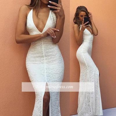 Modest Mermaid White V-neck Evening Gowns Front-Split Backless Sleeveless Lace Prom Dress_1