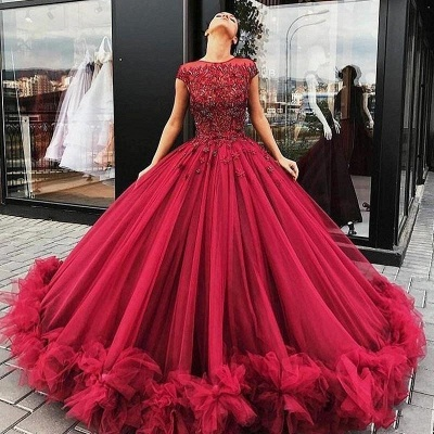Luxury Ball Gown Prom Dresses | Gorgeous Red Short Sleeves Evening Gowns_4