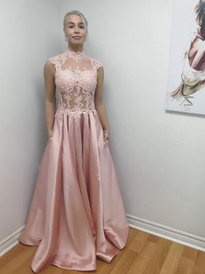 Bodice Lace-Applique High-Neck A-Line Long Chic Illusion Prom Dresses_2