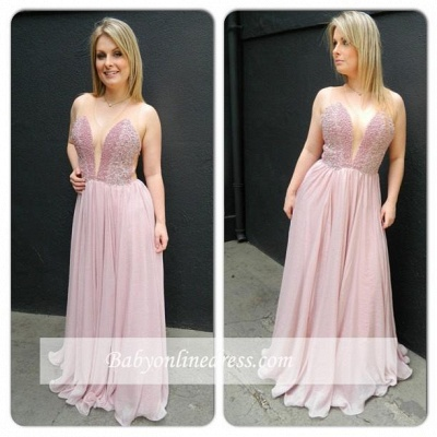 Newest Charming Chiffon V-neck Floor-length Sleveless Prom Dress_1