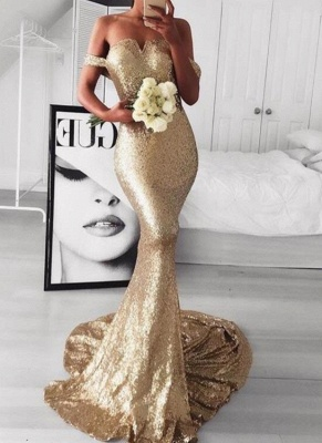 Gold Off-The-Should Mermaid Prom Dresses | Sexy Sequins Evening Dresses_1