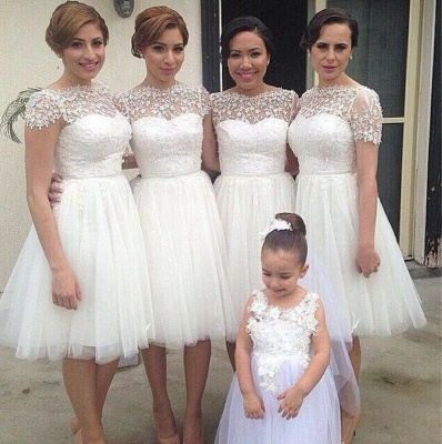 Knee Length Short Bridesmaid Dresses Short Sleeves Lace vestidos de dama de honra_3