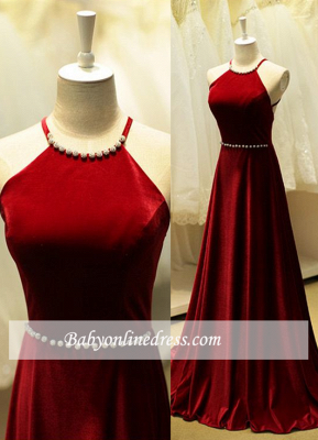 Elegant Long Halter Prom Dresses Sleeveless Evening Gowns with Beadings_4