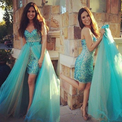 Turquoise Blue Rhinestones Two-Piece Prom Dresses with Removable Skirt_3