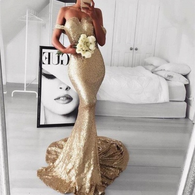 Gold Off-The-Should Mermaid Prom Dresses | Sexy Sequins Evening Dresses_4