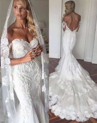 Elegant Off-the-Shoulder Backless Mermaid Wedding Dresses | Tulle Appliques Tiered Bridal Gowns_2