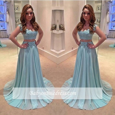 Chiffon A-line Two-Piece Newest Sweep-Train Lace Prom Dress_1
