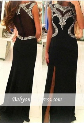2018 Glamorous Sheath Black Prom Dress Side-Slit Sleeveless Crystal Party Gowns_3