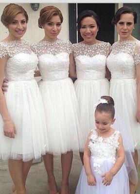 Knee Length Short Bridesmaid Dresses Short Sleeves Lace vestidos de dama de honra_2