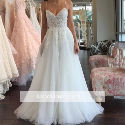 Sleeveless Lace Tulle Romantic Spaghetti-Strap A-line Wedding Dress_1