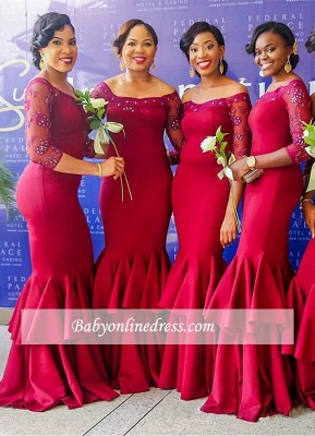 Elegant Red Long Sleeves Mermaid Off-the-Shoulder Tiered Bridesmaid Dress with Beadings_1