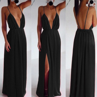 Sexy Cheap Deep V-Neck Backless Prom Dress Side Slit Black Evening Gowns_3