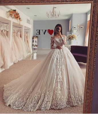 Elegant Long Sleeve Off The Shoulder Lace Ball Gown Floor Lengh Wedding Dresses_2
