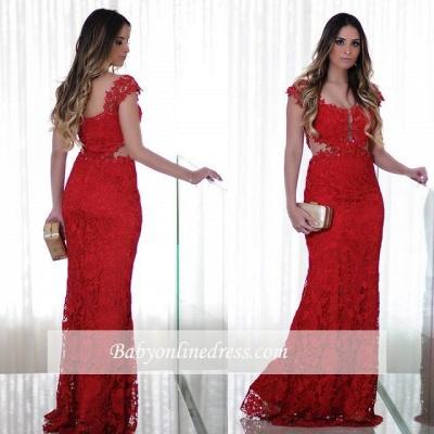 Mermaid Red Lace Long Cap-Sleeves Floor-Length Prom Dress_1