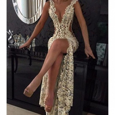 2018 Sexy Lace Evening Gowns Deep V Neck Beaded Thigh-High Slit Sheer Pageant Dresses_3