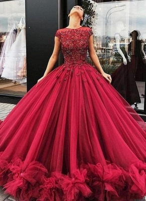 Luxury Ball Gown Prom Dresses | Gorgeous Red Short Sleeves Evening Gowns_3