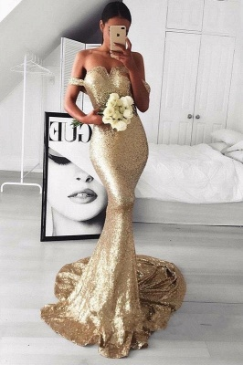 Gold Off-The-Should Mermaid Prom Dresses | Sexy Sequins Evening Dresses_3