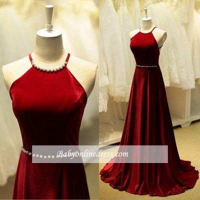 Elegant Long Halter Prom Dresses Sleeveless Evening Gowns with Beadings_1