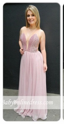 Newest Charming Chiffon V-neck Floor-length Sleveless Prom Dress_3