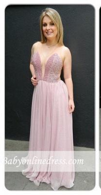 Newest Charming Chiffon V-neck Floor-length Sleveless Prom Dress_3