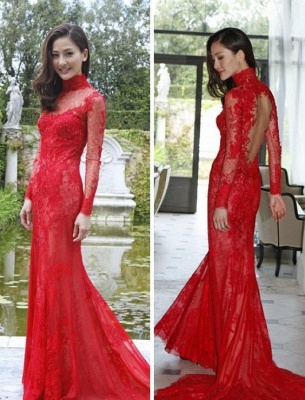 Red Lace High-Neck Evening Gowns Mermaid Long-Sleeve Prom Dress_2