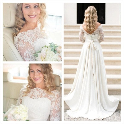 A-line Elegant Sash Bow Fall Lace Long-Sleeves Bateau-Neck Wedding Dresses_3