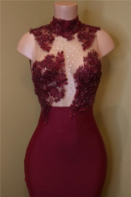 Burgundy Mermaid Prom Dresses High Neck Sheer Rose Flowers Evening Gowns_3