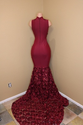 Burgundy Mermaid Prom Dresses High Neck Sheer Rose Flowers Evening Gowns_4