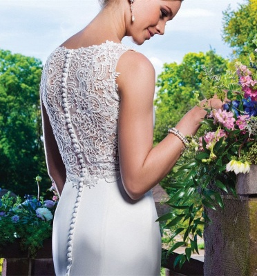 Zipper Button Lace Gorgeous Sleeveless Mermaid Wedding Dresses_3