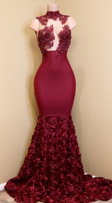 Burgundy Mermaid Prom Dresses High Neck Sheer Rose Flowers Evening Gowns_1