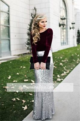 Sequins Long Sleeves Burgundy Silver Sheath Velvet Evening Dresses_1