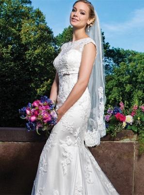 Zipper Button Lace Gorgeous Sleeveless Mermaid Wedding Dresses_2