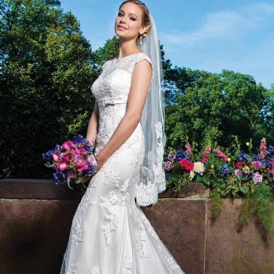 Zipper Button Lace Gorgeous Sleeveless Mermaid Wedding Dresses_4