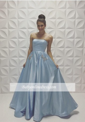 New Arrival Strapless Beads A-line Baby Blue Sleeveless Prom Dress_1