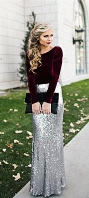 Sequins Long Sleeves Burgundy Silver Sheath Velvet Evening Dresses_3