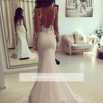 Elegant Mermaid Wedding Dresses   Long Sleeves Backless Bridal Gowns_1