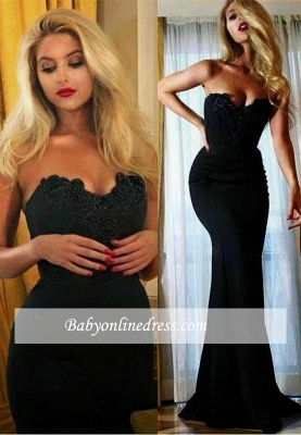 Sexy Simple Black Mermaid Prom Dress 2018 Appliques Sweetheart Evening Gowns_3