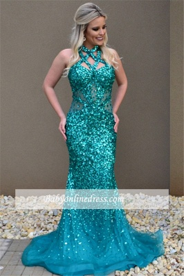 Crystal Sleeveless Sexy Open-Back Mermaid Open-Back Prom Dress_3