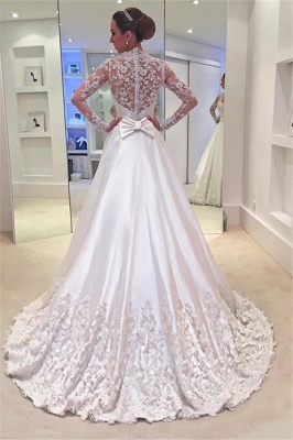 Appliques A-Line Long-Sleeves Bridal Gowns Sweep Train Bowknot Wedding Dresses_3