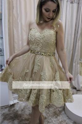 Short Sleeveless Sweetheart Lace Cute Crystals Homecoming Dress_1