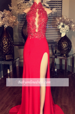 Red Lace-Appliques Chiffon High-neck Prom Dress Side-Split Sleeveless BA5081_1