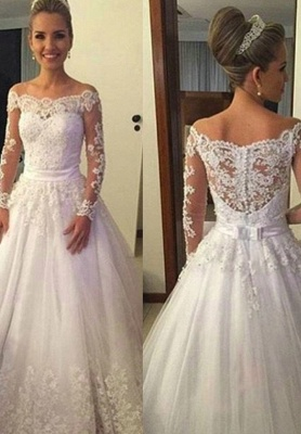 Long-Sleeves Off-the-shoulder Sweep Train A-line Lace Bow Wedding Dresses_2