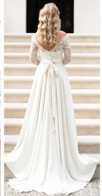 A-line Elegant Sash Bow Fall Lace Long-Sleeves Bateau-Neck Wedding Dresses_2