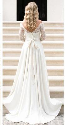 A-line Elegant Sash Bow Fall Lace Long-Sleeves Bateau-Neck Wedding Dresses_2