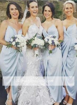 Sky-Blue Ruffles Spaghettis-Straps Sheath Slit Bridesmaid Dresses_1