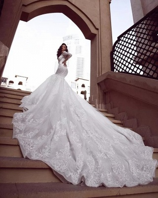 Off the Shoulder Mermaid Wedding Dresses   Sexy Lace Bridal Gowns_2