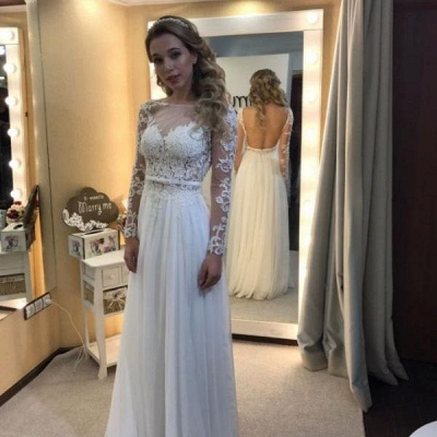 Floor Length Backless Lace Long-Sleeves Modern A-line Wedding Dress_3